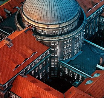 Aerial view of the main building of the University of Hamburg